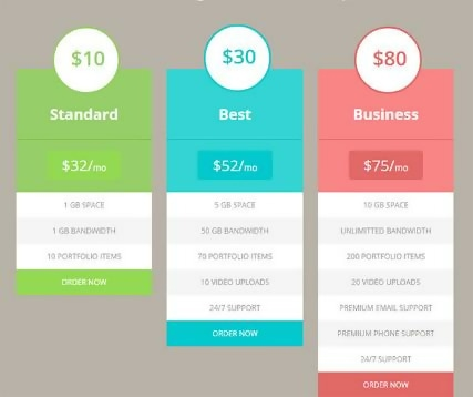 Free Flat HTML5 Pricing Tables Template