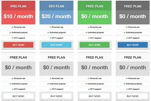 Bootstrap 3.0 Free Pricing Tables