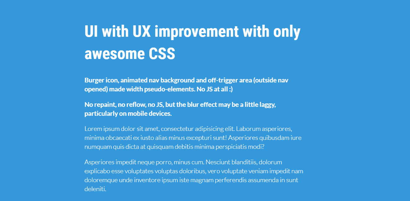 UI with UX improvements with only CSS