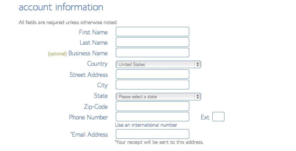 Enter Account Details